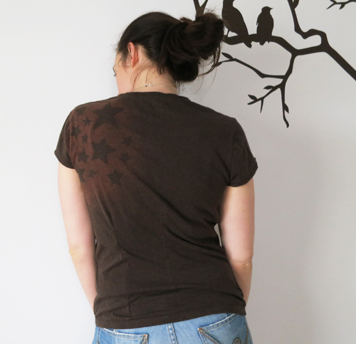 bleached brown star tshirt back