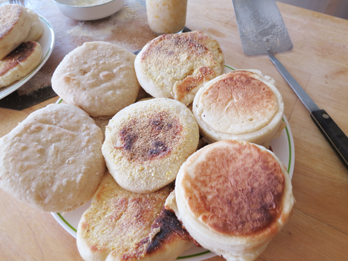plate of english muffins