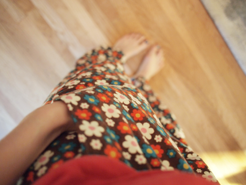 Pockets in Brown Floral Pajama Bottoms