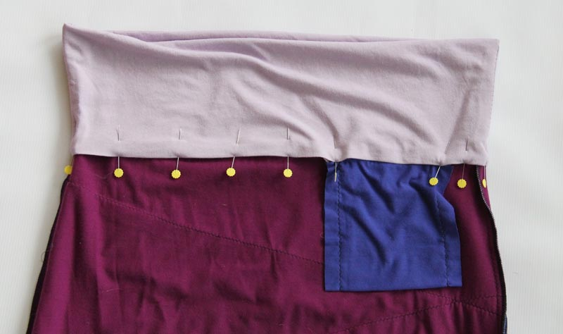 42 pin folded waistband in place