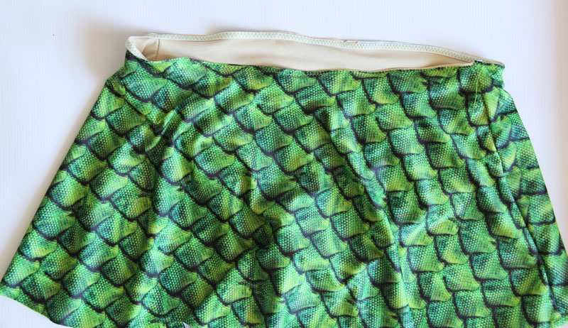 sew skirt to top of swimsuit