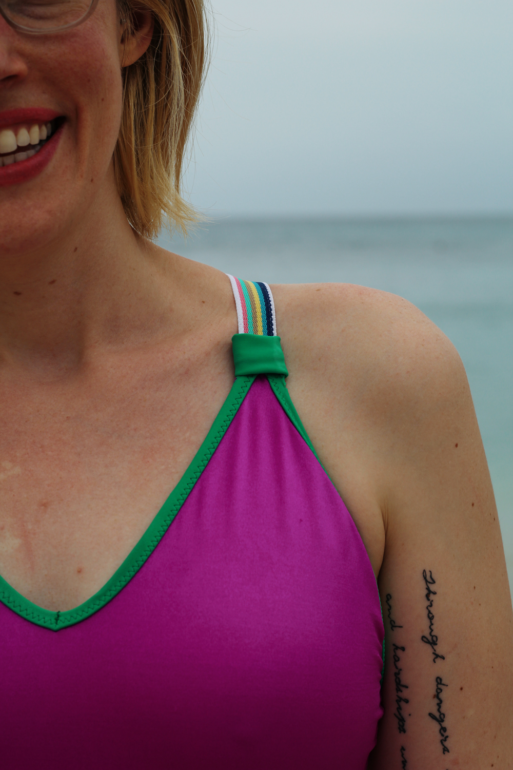 How to Hide the Join of Wide Elastic Straps on a Swimsuit